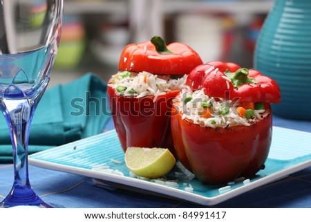 capsicum rice - stock photo