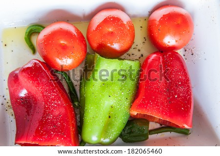 Capsicum, Tomato and Chilli Ready to bake in the oven - stock photo