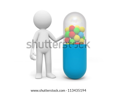 Capsule/a man standing nearby a capsule - stock photo