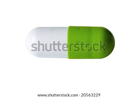 Capsule dietary supplement isolated over white - stock photo