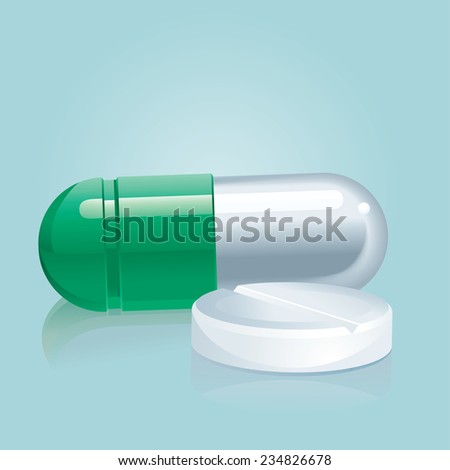 Capsules and pills. Medicine  background with  Pharmaceutical capsule and tablet  - stock photo