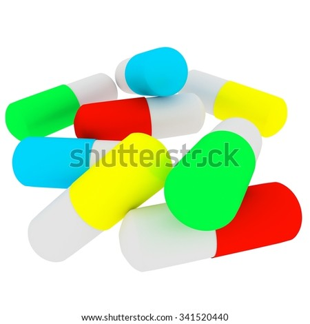 Capsules on white background 3d image