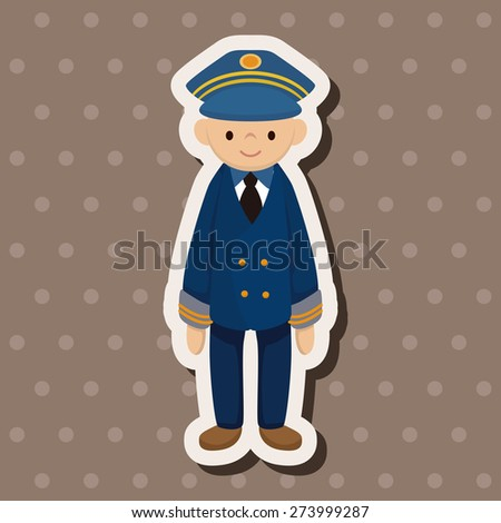 captain , cartoon sticker icon