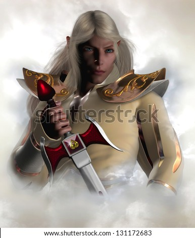 Captain of the Guard. Handsome male elf character with long blonde hair holding an elven sword surrounded by clouds.