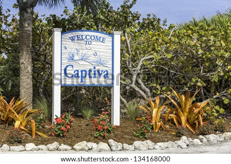 Captiva Island welcome sign in South Florida - stock photo