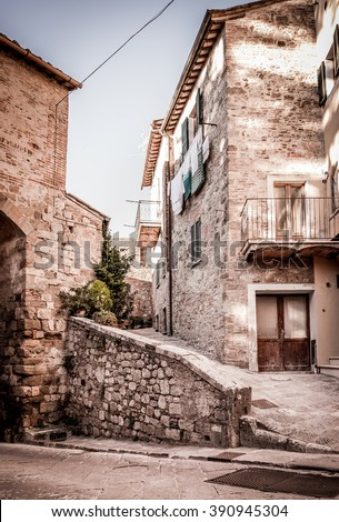 Captivating street of old Montepulciano village in Tuscany - stock photo