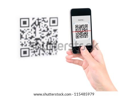 Capture QR code on mobile smart phone. Isolated on white.