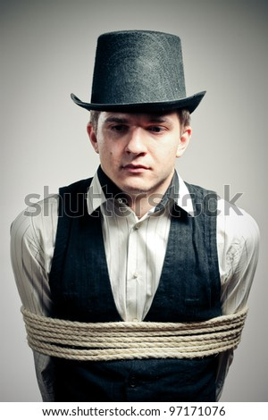 captured man - stock photo