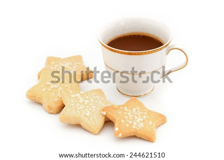 capuccino coffee in vintage style cup and cookie in coffee break time - stock photo