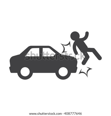 Pedestrian Getting Hit By Car Vector With Black Background