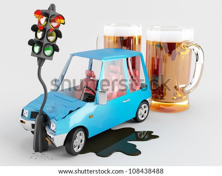Car accident caused by alcohol - stock photo