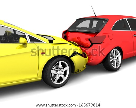 car accident. isolated on white ...