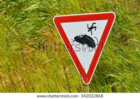Car accident road sign. Conceptual concept and ideas background with copy space. (BW)