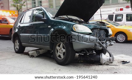 car accident with fire hydrant - stock photo