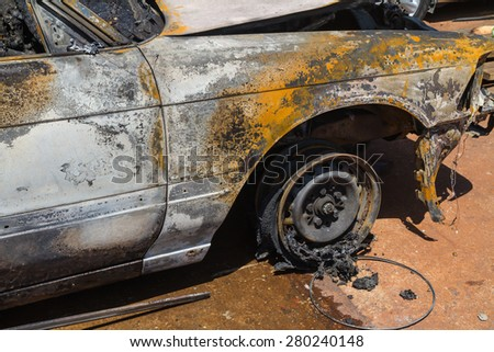 Car after fire - stock photo