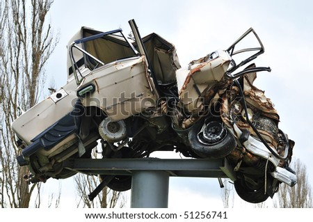 Car after terrible accident, drivers, be careful - stock photo