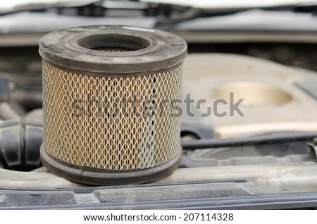 Car Air Filters Located in the a car bonnet