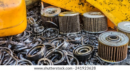 Car Air Filters Located on the dirty lubricant area. - stock photo