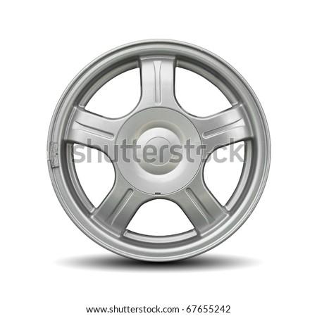 Car alloy rim on white background - stock photo