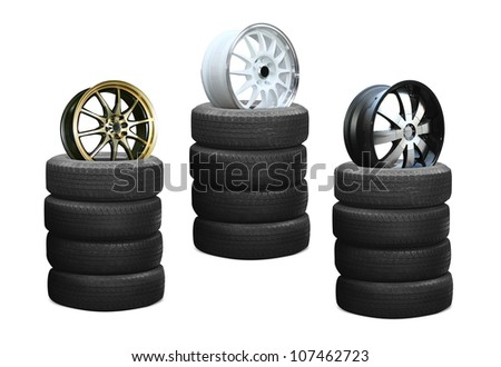 car alloy wheel, isolated over white background (Save Paths for design work)