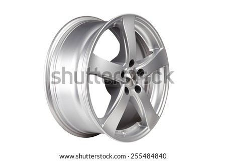 Car alloy wheel on white background. Clipping path - stock photo