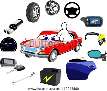 Car and a lot of necessary details on a white background - stock photo