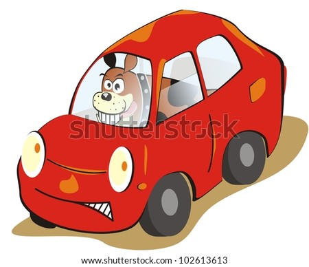 car and dog, humorous illustration