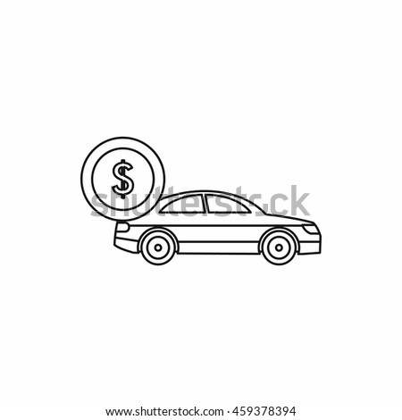 Car and dollar sign icon in outline style isolated  illustration - stock photo