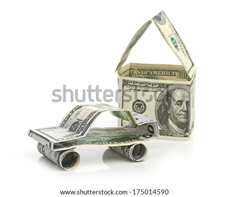 Car and  house made of Dollars