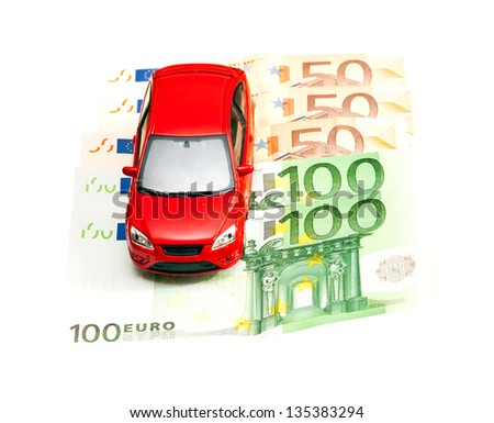 Car and money. Concept for buying, renting, insurance, fuel, service and repair costs - stock photo