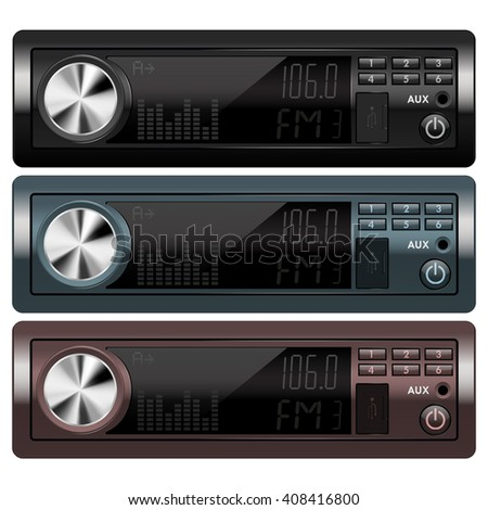 Car audio.  isolated on white background. Illustration. Raster version - stock photo