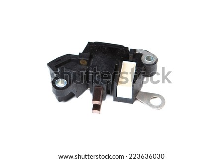 car automatic voltage regulator isolated on white background - stock photo