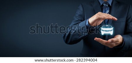 Car (automobile) insurance and collision damage waiver concepts. Businessman with protective gesture and icon of car.  - stock photo