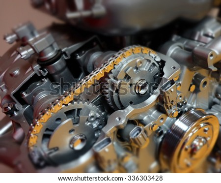 Car, automobile or vehicle engine or motor to illustrate technology, power and precision - stock photo