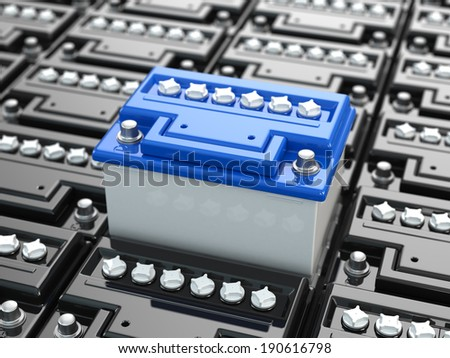 Car batteries background. Blue accumulators. Three-dimensional image. 3d - stock photo