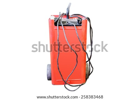 Car battery charging, service station - stock photo