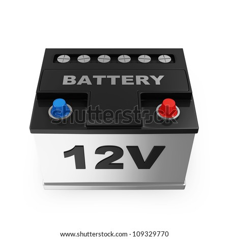 Car Battery isolated on white background - stock photo
