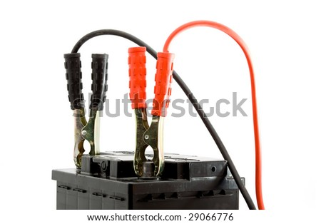 car battery jump start set studio isolated - stock photo