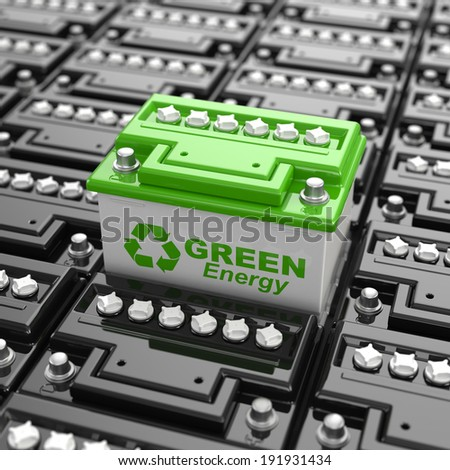 Car battery recycling. Green energy. Background from accumulators. 3d - stock photo