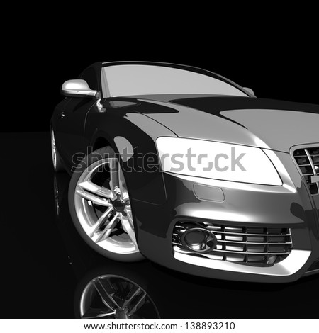 car black color on a dark background. with shiny paint and lights on. design concept.  3d rendering  modern car, front view - stock photo