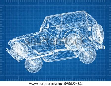 Car blueprint 3 d perspective stock illustration 595622483 car blueprint 3d perspective malvernweather Gallery