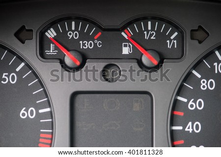 Car board tools, water and fuel indicator
