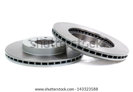 Car brake disc isolated on white backgroun - stock photo