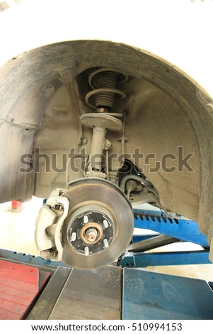 Car brake disc without wheels closeup