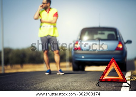 Car breakdown scene. - stock photo