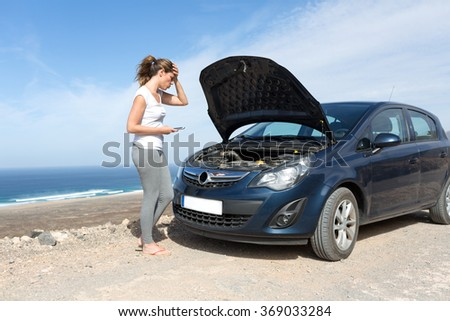 Car broke down on holiday - stock photo