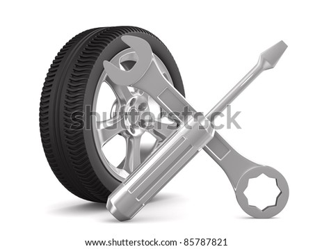 Car-care centre on white background. Isolated 3D image - stock photo