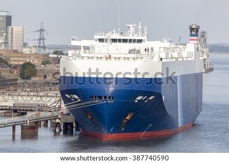 Car carrier ship - stock photo