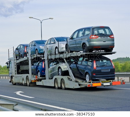 car carrier truck - stock photo