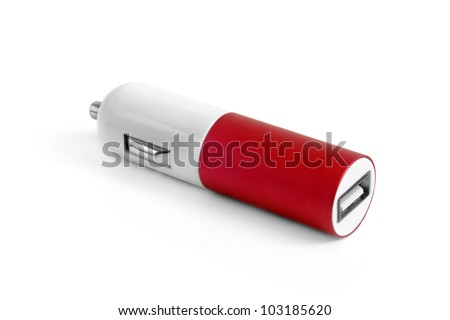 Car charger on a white background - stock photo